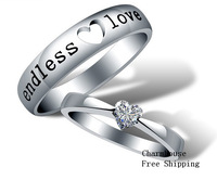 GPR233  925 Sterling Silver White Gold Plated Wedding Ring For Men Women Lovers' Rings 2013 Fashion Jewelry Sets