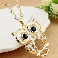 Wholesale Owl Pendant Long Sweater Chains Vintage Necklace gold silver plated rhinestone crystal CZ Necklaces 2014 NEW Jewelry