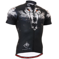 Professional Training Men's Short-Sleeve Bicycle Clothing Wolf Totem Pattern Apply To Mountain Biking, Road Race