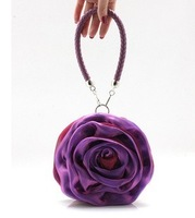 Rose women's handbag 2013 evening bag banquet formal dress small bag chiffon silk bag red bridal bag