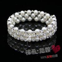 The bride accessories fashion multi-layer pearl rhinestone wide bracelet spirally-wound spiral bride bracelet