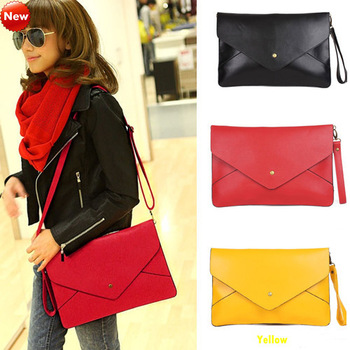 2013 Fashion Woman Envelope Clutches Bags Handbags PU Leather Shoulder Messenger Tote 1pce W\holesale Free shipping 0683