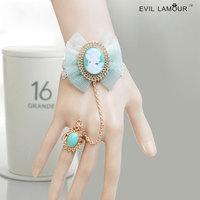 Princess sweet lolita bracelet Vintage sky blue beauty head white lace bracelet with rring one piece chain fashion palace prom