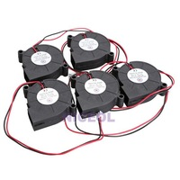 NI5L 5Pcs Black Brushless DC Cooling Blower Fan 5015S 5V 0.1-0.3A 50x15mm
