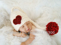 Free shipping Red long braids baby hat handmade crochet photography props newborn baby cap
