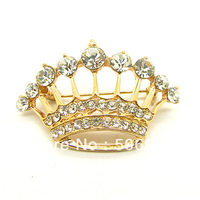 Crown Pins Rhinestone Pins Brooches Gold Plated Vintage Crystal Crown Embellishments 43*27mm 3pcs/lot HB973