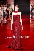 New Beading Long Prom Dresses Strapless Red Floor Length Elie Saab Evening Dresses 2013 - 2014 f90