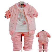 Hot Selling Autumn new girls set Velvet Cartoon White T-shirt + zipper coat +pants Pink 4 set lot ZY1009