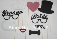 Free Shipping! 9 pcs /lot Funny Vintage Theme Wedding Photo Props for bride and groom