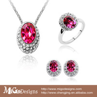 Free Shipping Migodesigns 2013 Fashion SWA Crystal Element Jewelry Rose Red Cystal Jewelry Set For Wedding