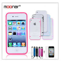 2pcs/lot Transparent Four Points Prastic Hard Case for iPhone 4/4S+Stylus Pen+Screen Protector Gift CA0013 QH