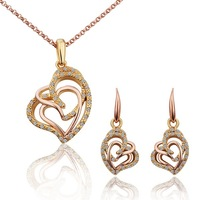 18K Gold Plated Nickel Free Rhinestones Wedding Necklace Earring  Jewelry Set Free Shipping S292
