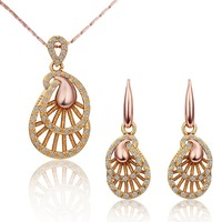 18K Gold Plated Nickel Free Rhinestones Wedding Necklace Earrings Set Free Shipping S268