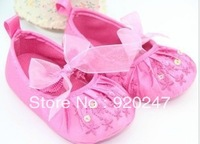 Free shipping High quality kid's shoes newborn baby girl Silk and sequins flower shoes baby first walkers shoes Wholesale retail