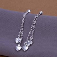 Free Shipping Wholesale 925 Silver Earring Fashion Sterling Silver Jewelry Dual-Heart Earrings SMTE248