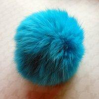 Free shipping!!! 30pcs/lot 10cm blue color black hair genuine rabbit fur ball-hair findings