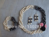 White and Black 8-9mm Bead with Coral Flower freshwater pearl jewelry set