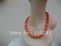 Free ship!!!Bulk 3piece fashion coarl jewelry - 18'' choker pink drum coral necklace
