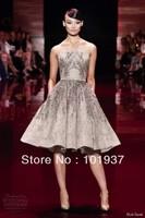 New Beading Coctail Dresses Elie Saab Strapless Knee Length Evening Dresses Short 2013 - 2014 f92