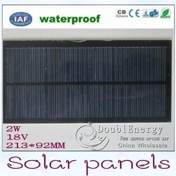 Efficient 2W 18V polycrystalline solar panels storage 5pieces/lot 213 * 92mm Battery saving board Free Shipping