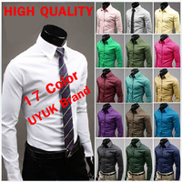 2013 New Brand Fashion Designer mens 17 colors slim fit shirt Long Sleeve Casual Shirt Cotton Men's Dress Shirt men polo Shirts