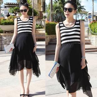 Free shipping 2014 New hot sale high quality Summer Korean Women striped irregular pregnant vest dresses Maternity wholesale