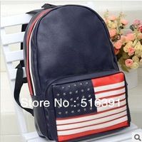 New American flag backpack pu leather school bag for girl and boy gift  travel bag free shipping