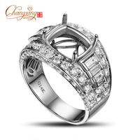 9x10mm Cushion 2.98CT Diamond Real 18k Gold Engagement Mens Wedding Band Ring