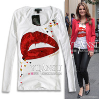 [yuansu brand]2013 Autumn New Style Woman Punk Red Lip Print Slim Long Sleeve 2 Color Black White t Shirt Tops Plus Size S-XL
