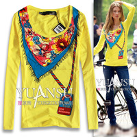 [yuansu brand] 2013 HOT New Arrival Pattern Print Basic T shirt Long Sleeve T shirt Women Size Plus S-XL Yellow White
