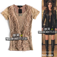 [yuansu brand]SEXY lace tassel shirt tee shirt women hollow out design short sleeve women's top tee shirts 2013