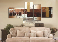 hand-painted wall art abstract Landscape oil painting on canvas 4pcs/set DM-0257(No Framed)(China (Mainland))