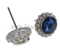 Free shipping!!!Rhinestone Earring,Vintage, with Zinc Alloy, stainless steel post, Flower, platinum color plated, 12mm
