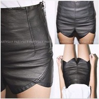 South Korean side zipper design wave lace base package hip PU leather pants shorts shorts  Free shipping