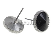 Free shipping!!!Resin Earring,Gothic, zinc alloy post, Flat Round, platinum color plated, black, 14mm, 10Pairs/Bag, Sold By Bag