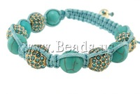 Free shipping!!! Shamballa Bracelets,Christmas Gift, Natural Turquoise, with Wax Cord & Zinc Alloy, Cross, with rhinestone