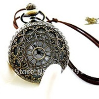 Can mixed design!!Wholeslae Spider web Antique Brass Bronze Charm Pendant Fob Pocket Watches Necklace Nickel and Leed Free!!