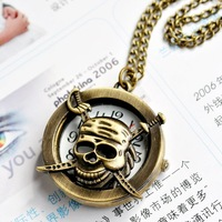 free shipping!!! 32*12mm cartoon Skull Heads pendant pocket watch @ mixed Antique Bronze Mechanical Locket Watch pocket