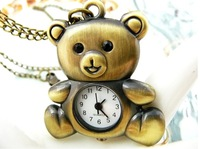 free shipping!!!  cartoon panda pendant pocket watch @ mixed Antique Bronze Mechanical Locket Watch pocket