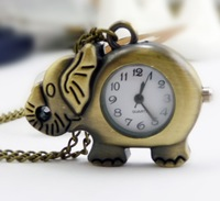 free shipping!!! 35*25mm cartoon Elephant  pendant pocket watch @ mixed Antique Bronze Mechanical Locket Watch pocket