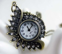 free shipping!!! 35*51mm cartoon eye pendant pocket watch @ mixed Antique Bronze Mechanical Locket Watch pocket WPP001