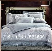 100% cotton tribute silk jacquard 6Pcs bedding set wedding bedding chothes comforter cover bedspread pillowcase Free Shipping