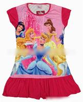 Free Shipping,4pcs/lot,cartoon princess, Long hair princess Kids' girl clothes nightgowns kids wear kids princess nightgown 7752