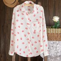 Free Shipping Summer New Arrival 2013 Female Print Chiffon Yarn Long-sleeve Shirt