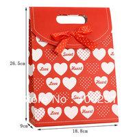 free shipping& Exquisite gift bag red white love tape medium bag gift bag   18.8*9*26.5cm
