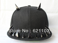 Promotion May New style! Punk rivet hiphop hip-hop hiphop baseball flat brim hat