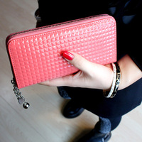 2013 plaid japanned leather embossed zipper paint women's long design wallet clutch chain bag