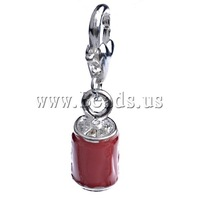 Free shipping!!!Zinc Alloy Lobster Clasp Charm,Brand, Drum, enamel, red, nickel, lead & cadmium free, 29.50x7.50mm
