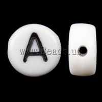 Free shipping!!!Alphabet Acrylic Beads,Bulk Jewelry, Coin, miracle, 4x7mm, Hole:Approx 0.5mm, 3600-3700PCs/Bag, Sold By Bag