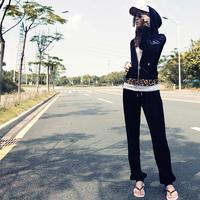 Summer leopard print velvet decoration sportswear sets velvet Women